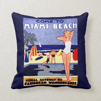 1925 Miami Beach Travel Poster Throw Pillow