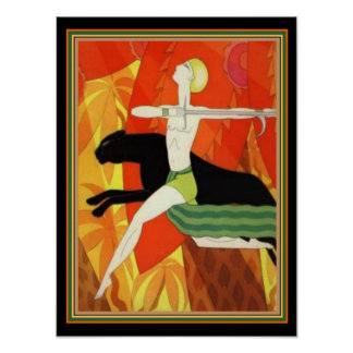 "1926 Art Deco ""Archer & Panther"" 12 x16 Poster"
