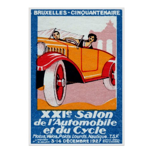 1927 Brussels Automotive Exposition Poster