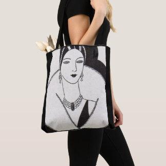 1928 art deco woman print tote bag
