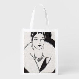 1928 art deco woman reusable grocery bag