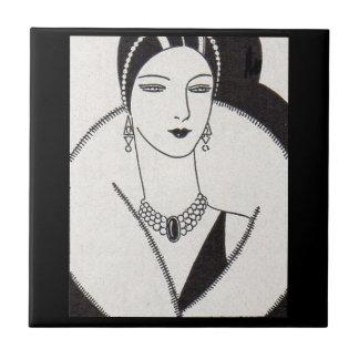 1928 art deco woman tile