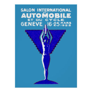 1928 Geneve Car and Motorcycle Show Poster