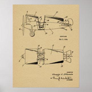1928 Roadable Airplane Patent Art Drawing Print