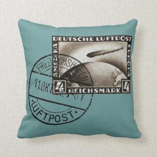 1928 Zeppelin Airmail Throw Pillow