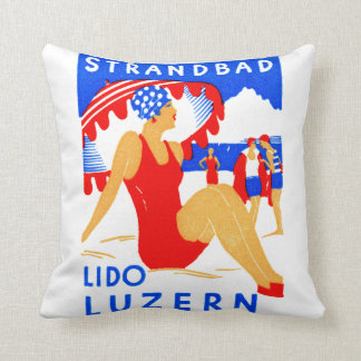 1929 Art Deco Strandbad Lido Luzern Throw Pillow