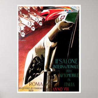 1929 Auto Rome Italy Auto Show Poster