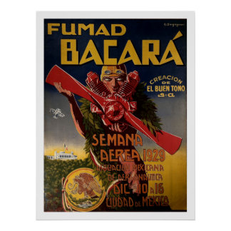 "1929 Aviation Poster ""Fumad Bacara"""