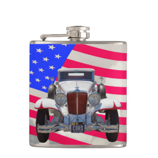 1929 Cord 6-29 Cabriolet and American Flag Hip Flask