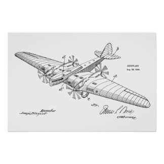 1930 Boat Airplane Patent Art Drawing Print