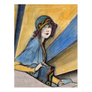 1930 fashionable woman in cloche hat postcard
