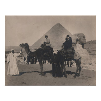 1930 Flapper Girls on camels Egypt Pyramids Print