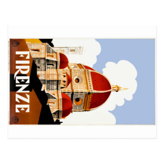 1930 Florence Italy Duomo Travel Poster Postcard