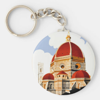 1930 Florence Italy Travel Poster Basic Round Button Keychain