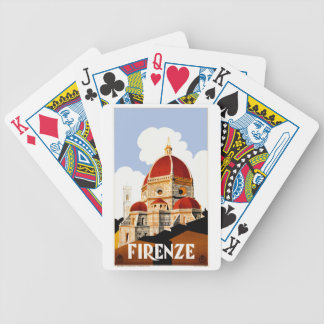 1930 Florence Italy Travel Poster Bicycle Playing Cards
