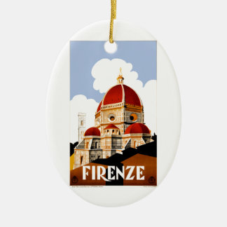 1930 Florence Italy Travel Poster Ceramic Oval Ornament