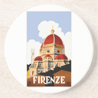 1930 Florence Italy Travel Poster Coaster