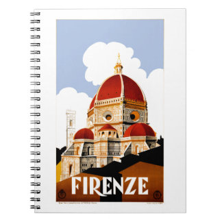 1930 Florence Italy Travel Poster Notebooks