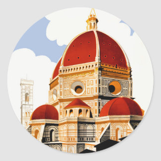 1930 Florence Italy Travel Poster Round Sticker