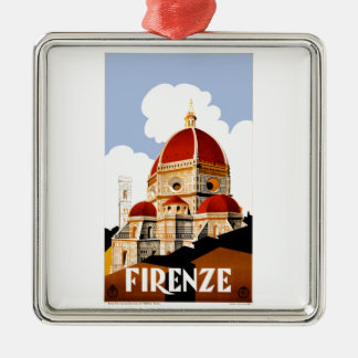 1930 Florence Italy Travel Poster Silver-Colored Square Ornament