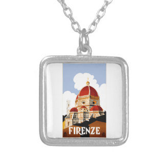 1930 Florence Italy Travel Poster Silver Plated Necklace
