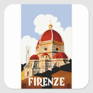 1930 Florence Italy Travel Poster Square Sticker