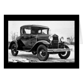 1930 Ford Model A Coupe - B&W Greeting Card