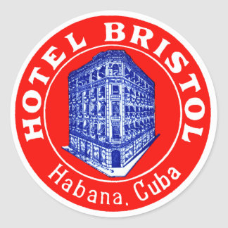 1930 Hotel Bristol Cuba Round Sticker