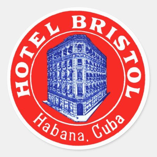 1930 Hotel Bristol Cuba Round Stickers