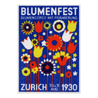 1930 Swiss Flower Show Poster