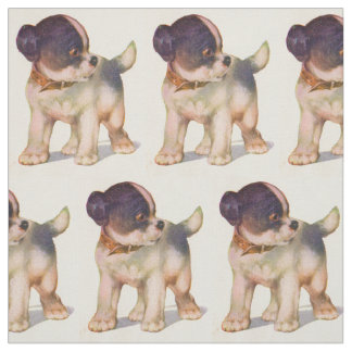 1930s adorable puppy no. 1 novelty print fabric