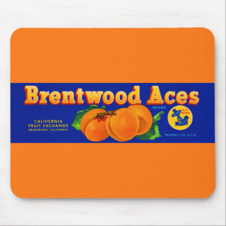 1930s Brentwood Aces apricots crate label Mouse Pad