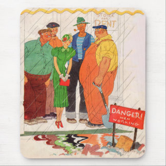 1930s burly men and pretty lady mouse pad