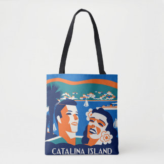 1930s Catalina Island Luggage Tag Design Tote Bag