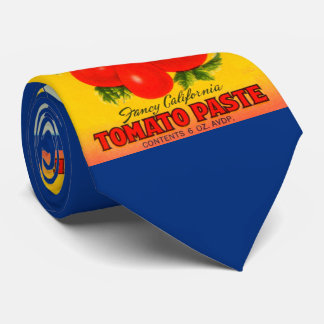 1930s Claudia tomato paste label print Tie