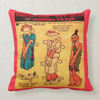 1930s comic strip paper doll Princess Wootietoot Throw Pillow