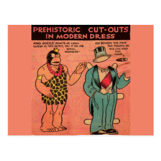 1930s comics cave man paper doll King Guzzle Postcard