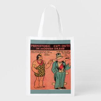 1930s comics cave man paper doll King Guzzle Reusable Grocery Bag