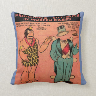 1930s comics cave man paper doll King Guzzle Throw Pillow