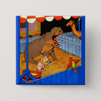 1930s crying hippopotamus and friends 2 inch square button