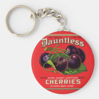 1930s Dauntless Cherries in Heavy Syrup can label Basic Round Button Keychain