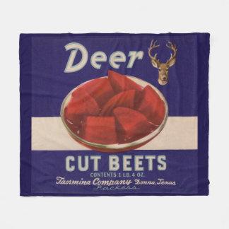 1930s Deer Cut Beets can label Fleece Blanket