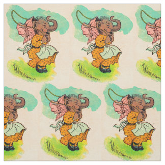 1930s dressed elephant playing jump rope fabric
