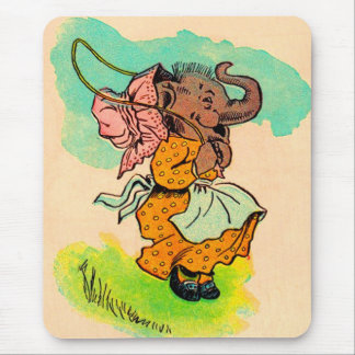 1930s dressed elephant playing jump rope mouse pad