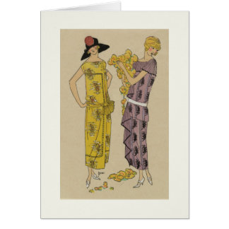1930s fashion plate, yellow & purple dresses card