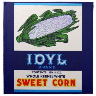 1930s Idyl Sweet Corn label Napkin
