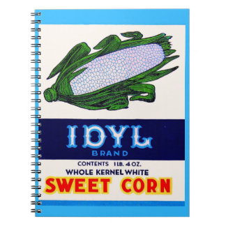 1930s Idyl Sweet Corn label print Notebook