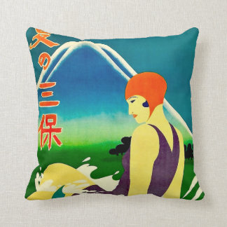 1930s Japan Travel Poster A Throw Pillow