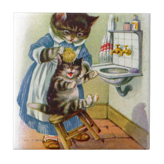 1930s kitty cat mama washes her kitten tile
