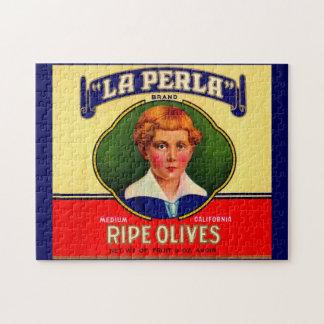 1930s LaPerla Olives label Jigsaw Puzzle